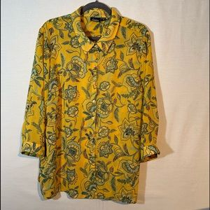 Simply Emma woman's blouse, gold, blue & green